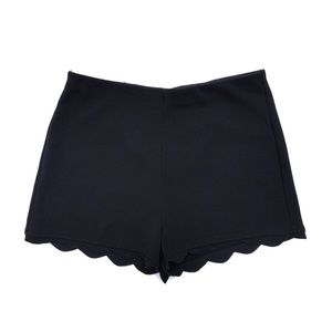 UO Black Scalloped Hem Mid Rise Shorts Size Small
